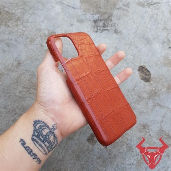 Ốp Lưng Da Cá Sấu Màu Nâu Đỏ Iphone11 OD0408