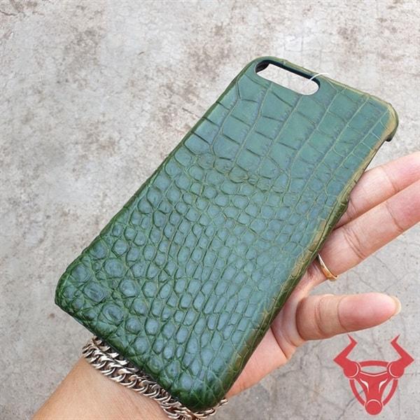 Ốp Lưng Da Cá Sấu Màu Xanh Lá Iphone 7 Plus OC1108