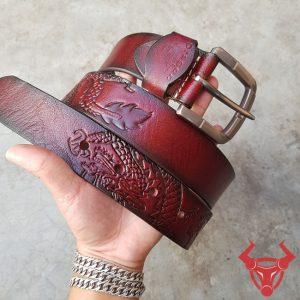 Dây Lưng Hình Rồng Da Bò Khóa Inox TLK10-NĐ
