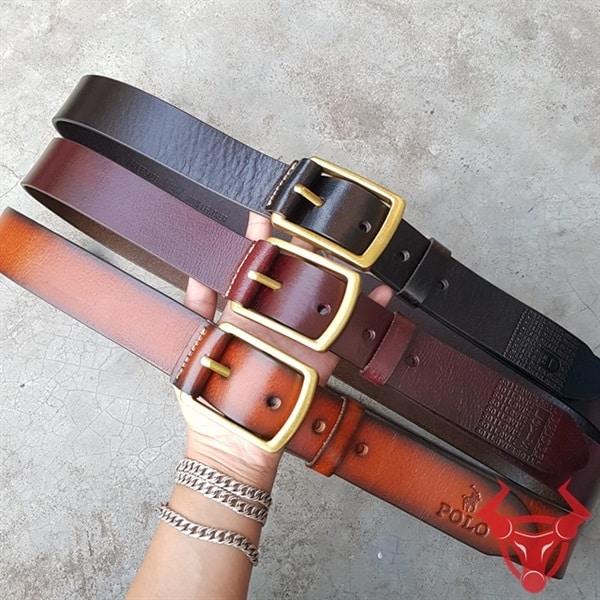 Thắt Lưng Nam Da Bò Polo Khóa Đồng TLK11-CG