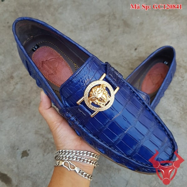 Giày Lười Da Cá Sấu Màu Xanh Navy GC120841