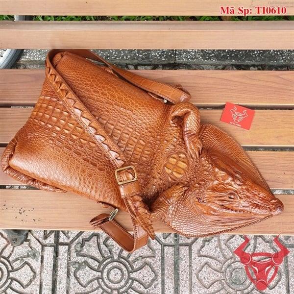 Túi Đeo Đầu Da Cá Sấu Thật TI0610