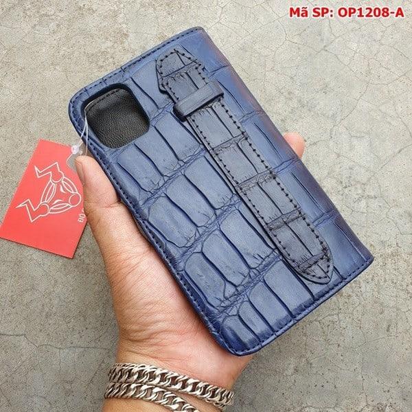 Tuidacasau Bao Da Cá Sấu Iphone 11 Trơn Navy OP1208-A (5)