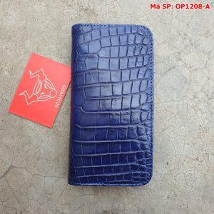 Bao Da Cá Sấu Iphone 11 Trơn Navy OP1208-A