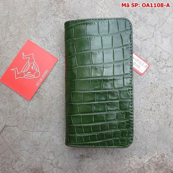 Tuidacasau Bao Da Cá Sấu Iphone XS MAX Xanh Lá Trơn OA1108-A (1)