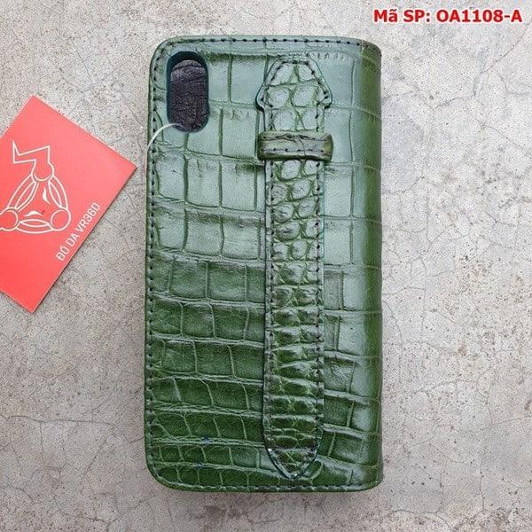 Tuidacasau Bao Da Cá Sấu Iphone XS MAX Xanh Lá Trơn OA1108-A (2)
