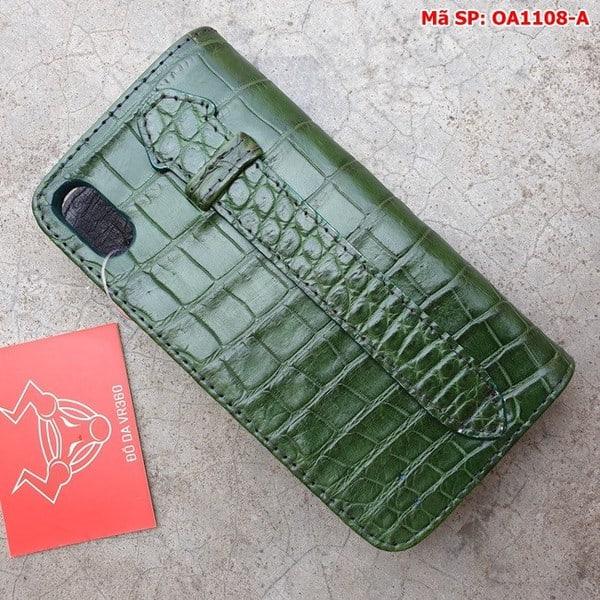 Tuidacasau Bao Da Cá Sấu Iphone XS MAX Xanh Lá Trơn OA1108-A (4)