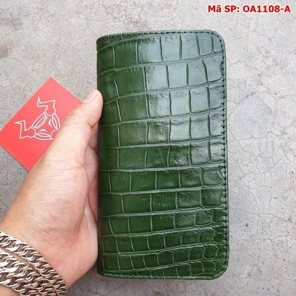Tuidacasau Bao Da Cá Sấu Iphone XS MAX Xanh Lá Trơn OA1108-A (7)