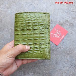 Bóp Đứng Nam Cá Sấu Gai Lưng Màu Xanh Rêu VJ1401
