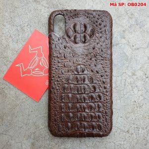 Ốp Lưng Cá Sấu Iphone X Gù Nâu Đen OB0204