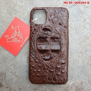 Ốp Lưng Cá Sấu Iphone 11 promax Gù Nâu Đen OD2A4-B