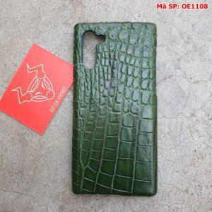 Ốp Lưng Cá Sấu Samsung Note 10 Trơn Xanh Lá OE11A8