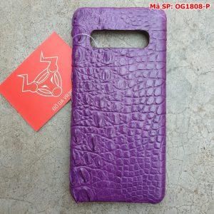 Ốp Lưng Cá Sấu Samsung S10 Plus Trơn Tím OG1808-P