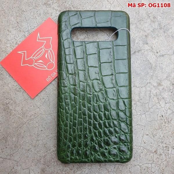 Tuidacasau Ốp Lưng Cá Sấu Samsung S10 Plus Trơn Xanh Lá OG1108 (1)