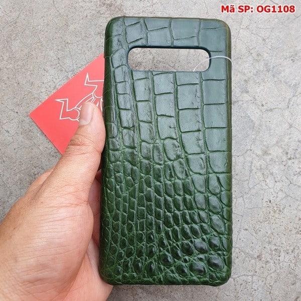 Tuidacasau Ốp Lưng Cá Sấu Samsung S10 Plus Trơn Xanh Lá OG1108 (2)
