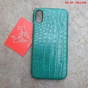 Ốp Lưng Cá Sấu Thật Iphone 10 Trơn Xanh Vechai OB22A8