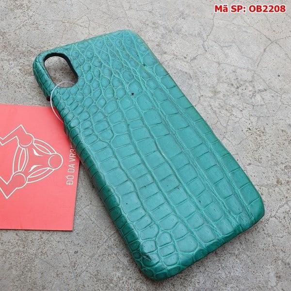Tuidacasau Ốp Lưng Cá Sấu Thật Iphone 10 Trơn Xanh Vechai OB2208 (2)