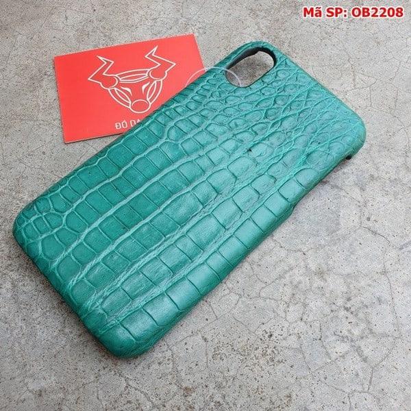 Tuidacasau Ốp Lưng Cá Sấu Thật Iphone 10 Trơn Xanh Vechai OB2208 (3)