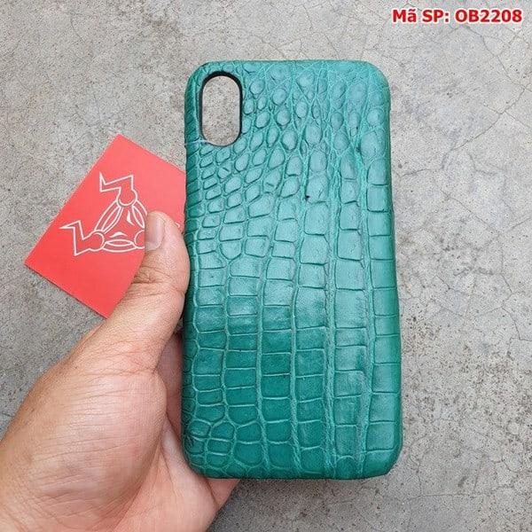 Tuidacasau Ốp Lưng Cá Sấu Thật Iphone 10 Trơn Xanh Vechai OB2208 (4)