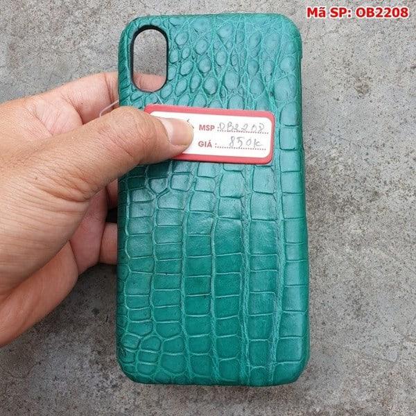 Tuidacasau Ốp Lưng Cá Sấu Thật Iphone 10 Trơn Xanh Vechai OB2208 (5)