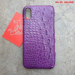 Ốp Lưng Iphone X Da Cá Sấu Trơn Tím OB1808
