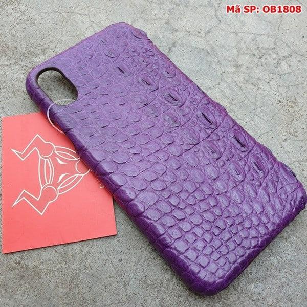 Tuidacasau Ốp Lưng Iphone X Da Cá Sấu Trơn Tím OB1808 (2)