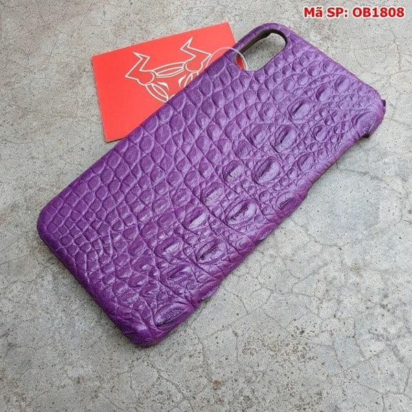 Tuidacasau Ốp Lưng Iphone X Da Cá Sấu Trơn Tím OB1808 (3)