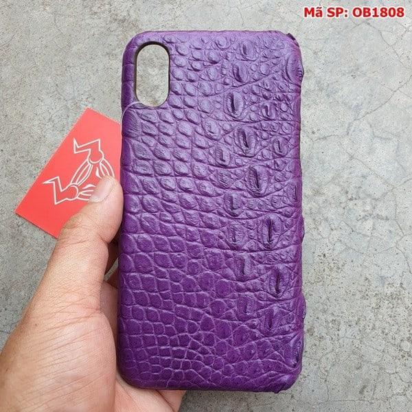 Tuidacasau Ốp Lưng Iphone X Da Cá Sấu Trơn Tím OB1808 (4)