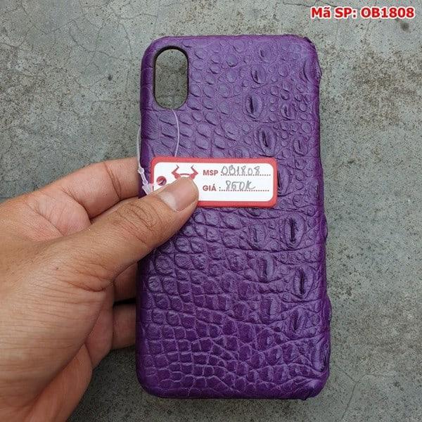 Tuidacasau Ốp Lưng Iphone X Da Cá Sấu Trơn Tím OB1808 (5)
