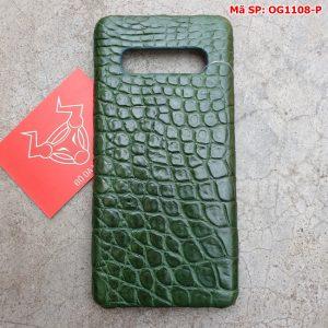 Ốp Lưng S10 Plus Da Cá Sấu Samsung Trơn Xanh Lá OG11A8-P