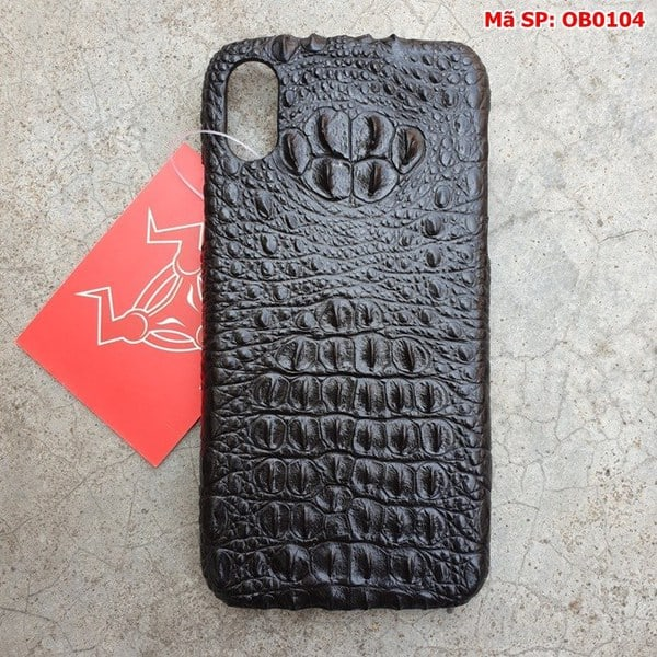 Ốp Lưng Iphone X Da Cá Sấu Thật Đen Gù OB0104