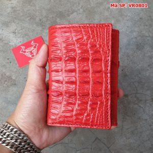 Ví Da Cá Sấu 3 Gấp Gai Lưng Đỏ Tươi VR0801