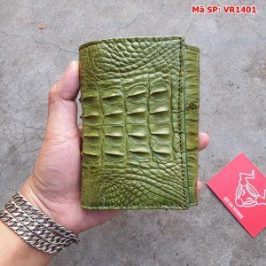Ví Da Cá Sấu 3 Gấp Nam Nữ Gai Lưng Xanh Rêu VR1401