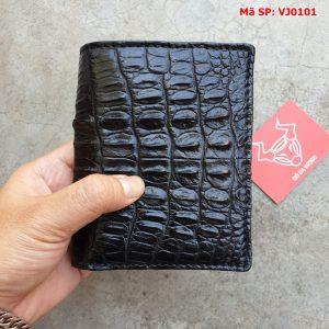 Ví Đứng Da Cá Sấu Nam Tphcm Màu Đen VJ0101