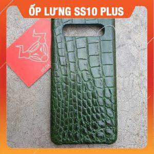 Ốp Lưng Cá Sấu Samsung S10 Plus Trơn Xanh Lá