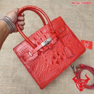 Túi xách nữ đeo chéo da cá sấu gù đỏ tươi TA8A4