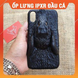 Ốp Lưng Cá Sấu Iphone XR Đầu Cá Đen OX1A10
