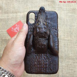 Ốp Lưng Cá Sấu Iphone XR Đầu Cá Nâu Đen OX2A10