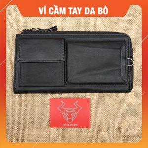 Ví Cầm Tay Nam Da Bò NameTag Đen VCT29