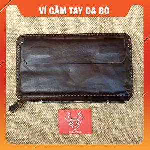 Ví Cầm Tay Nam Da Bò Sáp Nâu VCT28