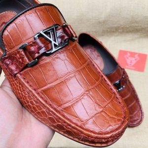 Giày Lười Nam Da Cá Sấu Da Trơn GC