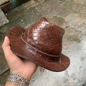 Mũ Phớt Nam Da Cá Sấu Trơn