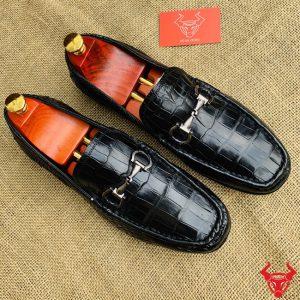Giày Mọi Da Cá Sấu Đế Cao Su Trơn Bụng GCS24A8