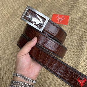 Thắt Lưng Liền Bọc Viền 3.5cm Trơn Nâu Đen