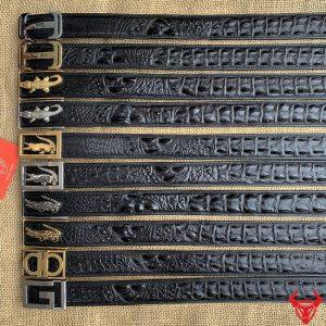 Thắt Lưng Liền Gai Đen Bản 3.5cm Khoá Thép