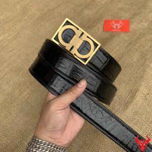 Thắt Lưng Liền Trơn Đen Bản 3.5cm Khoá Thép