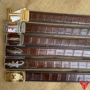 Thắt Lưng Da Cá Sấu Bọc Viền Khoá Thép 3.5cm