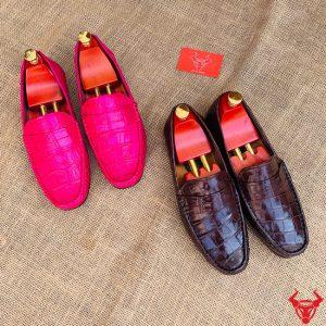 Giày Lười Da Cá Sấu Đế Cao Su Vân Bụng Lớn GCA8